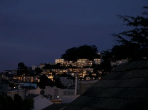sunrise on the hills above Noe Valley